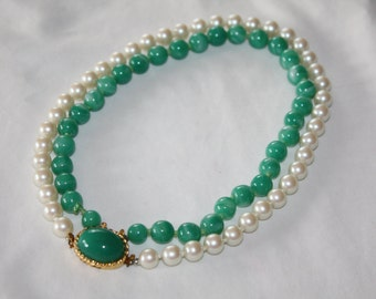 Vintage Green Glass Pearl Necklace  Faux Jade Double Strand Pendant 1950s Jewelry