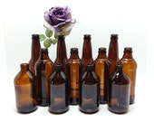 Brown Bottle Collection, Mixed Bottle Lot of 12, Craft Bottles, Bottle Vases, Rustic Industrial Country Barn Wedding Supplies, Table Décor