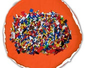 SALE reduced from USD25 - Play mat Toy bag - Storage bag - Lego playing mat - Playmat - Orange