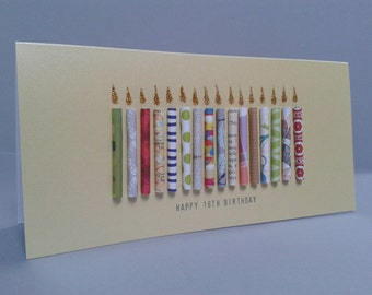 Happy Birthday Teenage Candle Card, can be customised to ages 13,14,15,16,17,19. Can be Personalised.