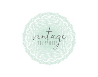 vintage blue doily logo and watermark