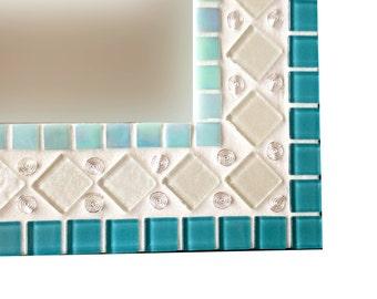 Teal, Aqua, White, Silver Wall Mirror // Mixed Media Mosaic