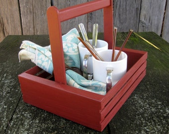 Rustic Painted Wooden Crate Basket Caddy Handle Barn Red Weathered Shabby Storage Display