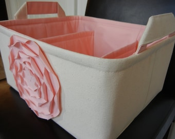 """LG Diaper Caddy(choose COLOR)12""""x10""""x6""""  Two Dividers-Fabric Storage Organizer-Baby gift-""""Pastel Pink  Rose on Cream/Natural"""""""