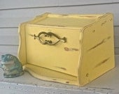 Wooden Mid Century Bread Box - UpCycled Yellow Vintage Kitchen Box