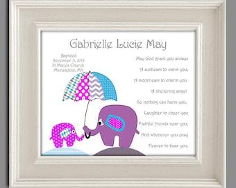 Baptism Gift from Godparents - Baby Girls Christening Gift - Baptism Gift for Goddaughter - Religious Gift - Elephant Nursery Art - PRINT