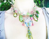 RESERVED for tauxechristine Forest Fairy Magic Necklace- handmade OOAK pendant rose quartz rune stone butterfly green pink