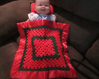 Red and Green Doll Blanket with Pillow  /  Doll Blanket  / Security Blanket with Satin