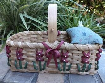 Texas Bluebonnet Pincushion/Mending Basket Mauve Sewing Basket Handwoven Basket