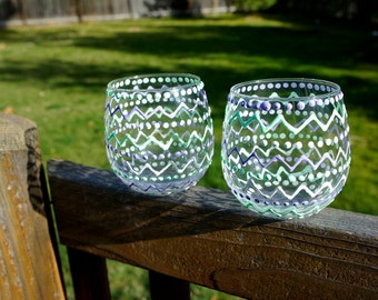 Tribal Aztec Pattern Hand Painted Stemless Wine Glasses SET OF 2