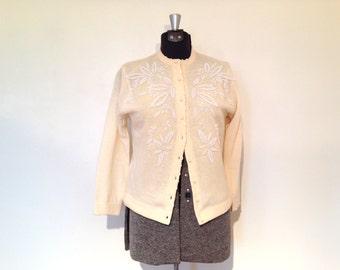 Vintage Beaded Cardigan / Medium/Large / Lambswool Sweater