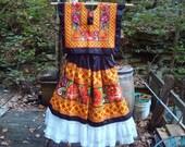 Black Satin Floral/Cardenilla Tehuantepec Traje