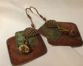 Earrings Vintage Handcrafted Mixed Metal Patina Overlapping Geometric Squares and Heart BOHO Chic Ethnic