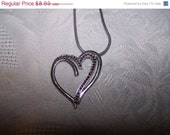 SALE Heart Necklace red rhinestones silvertone heart necklace valentines day