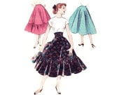 """1950s Skirt Pattern Butterick 7326, Flared Skirt with Ruffle & Cummerbund, 1/2 Circle """"Quick and Easy"""", Vintage Sewing Pattern Waist 24"""