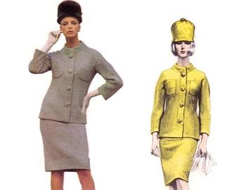 1960s Designer Pattern Vogue Couturier Design 1481 Fabiani, 2 Pc Suit, Pencil Skirt & Collarless Jacket, Vintage Sewing Pattern Bust 31