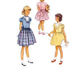 1950s Childrens Pattern McCall's 8627, Little Girls Puff Sleeve Dress, V-Yoke Back Tie Easter Dress, 1951 Vintage Sewing Pattern Size 3