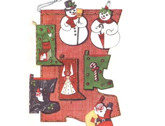 """1950s Christmas Craft Pattern McCall's 2351, Jeweled Felt Stockings: Giant 34"""" Boot, Snowman, Santa, 1959 Vintage Sewing Pattern Uncut"""