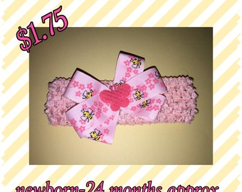 Crochet headband baby infant girls toddler fits newborn-24 months approx. very stretchy butterfly