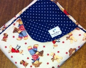 Blue Jean Teddy gender neutral farm baby blanket. Reversible flannel, extra large size.
