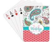 Paisley & Polka Dots Personalized Playing Cards - Name or Initials