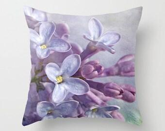 Lilacs Photo Throw Pillow, Throw Pillow, Flower Pillow