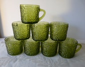 Vintage Anchor Hocking Serano glass, cups, mugs, green, olive green, Christmas, set of eight