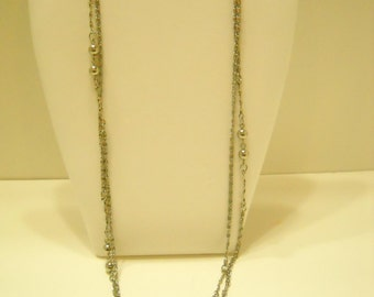 "Vintage 54"" Silver Tone Beaded Chain Necklace (4701)"