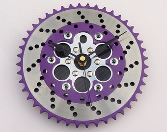 Cycling wall clock real carbon fiber unique guys mans biker bicycle BMX gear office kitchen xmas christmas gift silver purple