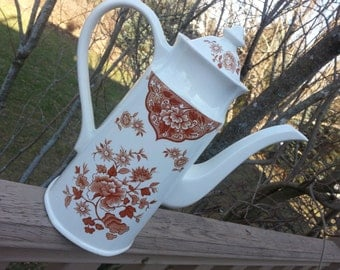 Gorgeous Meakin Coffee Server, Old Pekin Pattern, English Ironstone, English Transferware, Brown Transferware