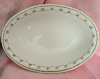 Vintage Serving Bowl Rosenthal Selb-Bavaria Oval Pink Rose Serving Dish Cottage Chic