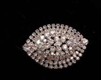 Unsigned Layered Clear Rhinestone Brooch, Large and Sparkling