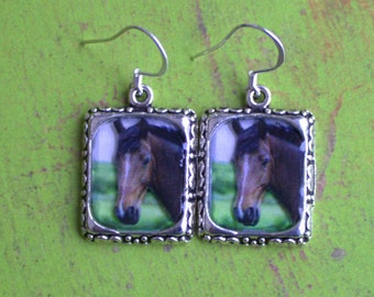 Horse Pony Earrings Picture 3D Dimensional Brown Black Silver