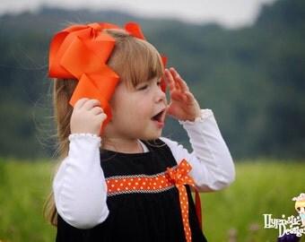 Orange Cheer Bow, Halloween Hair Bow, Halloween Bow, Halloween Hair Clip,Pumkin Bow, Orange Hair Bow, Oversized Hair Bow, Large Bow,Wavy Bow