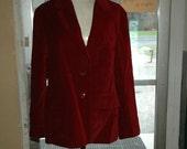 Vintage Cranberry Velvet Blazer! Med to Large!