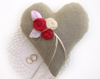 Ring Bearer Heart Pillow, Ring Bearer Pillow, Bold Pink, Wedding Ceremony, Rustic Wedding, Rustic Ring Bearer, Wedding Accessory