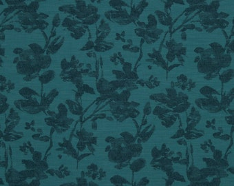 Abstract Teal Floral Upholstery Fabric - Heavyweight Fabric - Artistic Fabric for Stretched Canvas Art - Teal Floral Pillows