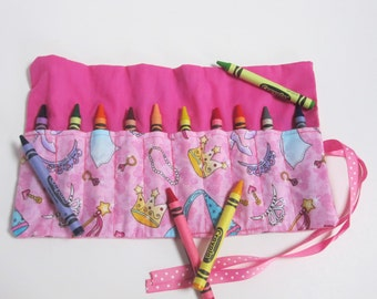 princess crayon roll, crayon holder, crayon wallet, party favor