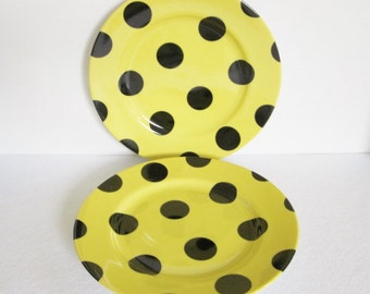 Vintage Fitz and Floyd Polka Dot Salad Plates Set of Two, Black and Yellow Plates, Fun Dessert Plates