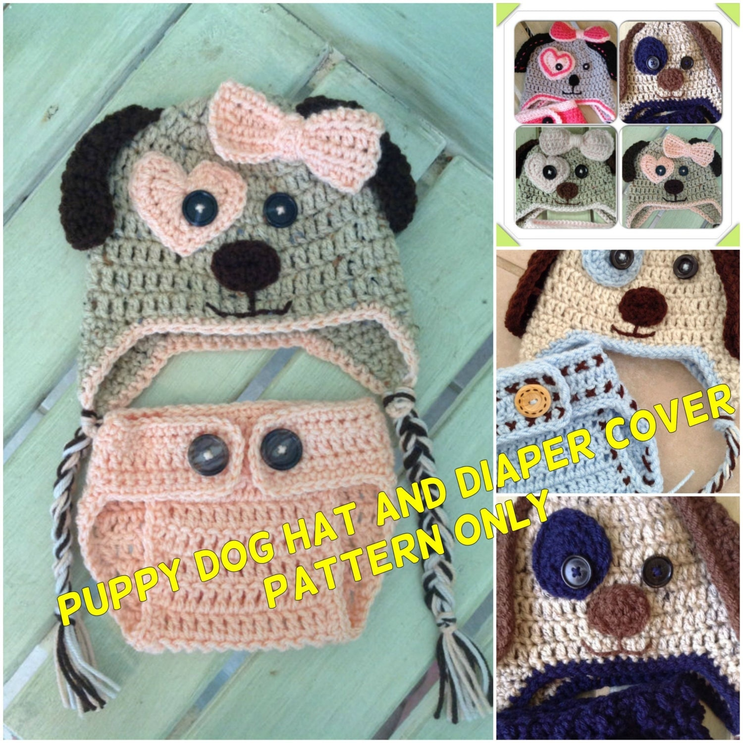 Crochet Dog Hat And Diaper Cover Pattern : Puppy Dog Hat and Diaper Cover Pattern Only Crochet Hat and