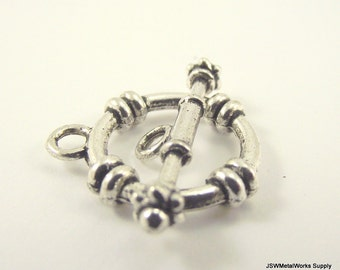 3 Rope Pewter Toggle Clasp, Silver Toggle Clasp