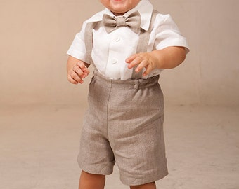 Baby boy suspenders suit Ring bearer outfit Boy linen suit Baptism shorts with suspenders Rustic wedding baby boy formal suit natural color