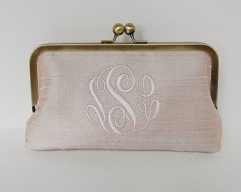 Personalized brides , bridesmaid clutch, monogrammed wedding clutch,  custom silk clutch, bridesmaid gift