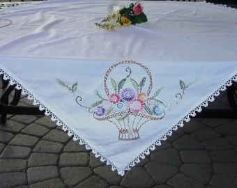 Hand Embroidered LInen Tablecloth/Tablecover hand made Rare French Knots circa 1950s one of a kind  50 x 50