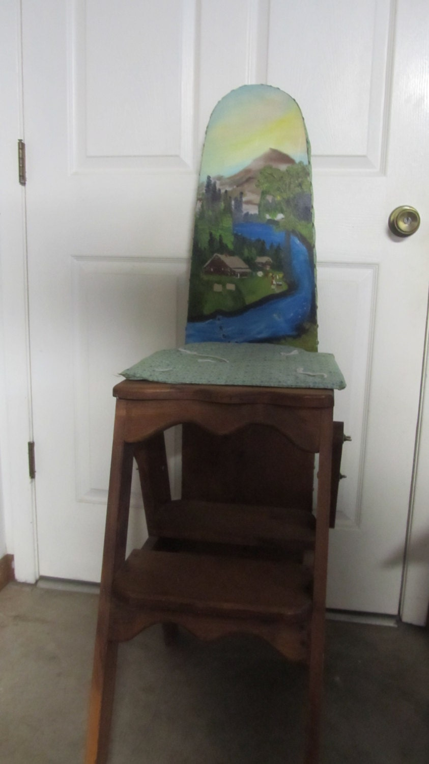 Vintage Three In 1 Wooden Kitchen Chair Ironing Board