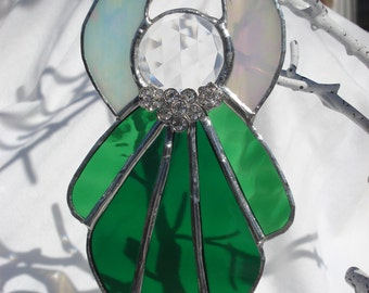 Stained Glass Angel with Rhinestones
