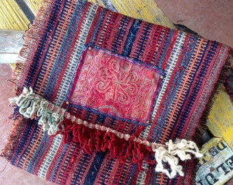 NOMADA --Vintage handwoven, Messenger bag w/ flap, Tribal, iPad, Notebook, ethnic, carpetbag, one of a kind --CURRENT STOCK