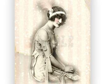 Vintage Flapper Digital Art Print Download Home Decor Cottage Chic No.002