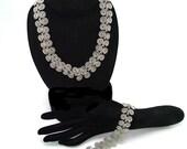 Silver Tone Braided Design Swirling Link Vintage Necklace & Bracelet Set