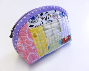 Mini zipper pouch in patchwork style, Coin purse,  - Reduced to clear! -
